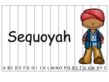 Notable Native Americans (Sequoyah) Alphabet Sequence Puzz