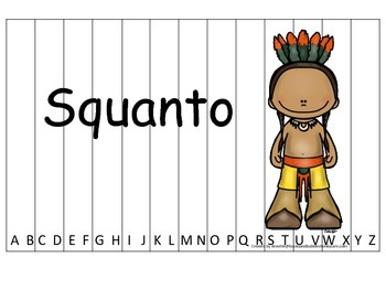 Notable Native Americans (Squanto) Alphabet Sequence Puzzl