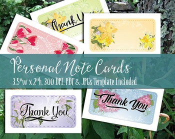Note Cards & Thank You Notes - Printable PDF & JPGs, 300 D