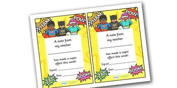 Note From Teacher- Super Effort (Superhero Theme)