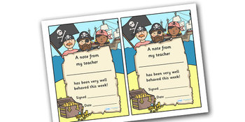 Note From Teacher- Well Behaved This Week (Pirate Theme)