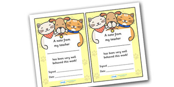 Note From Teacher- Well Done This Week (Cat/Dog Theme)