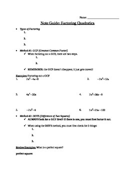 Note Guide - Factoring Quadratics