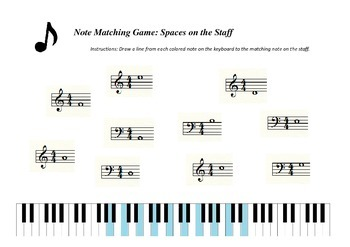Note Matching Game: Spaces on the Staff