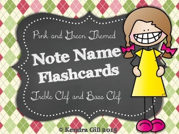 Note Name Flashcards - Pink and Green Theme