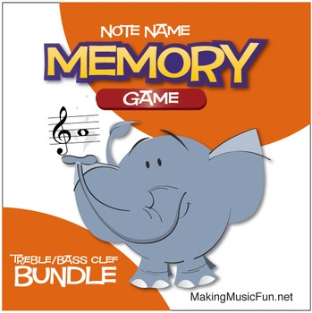 Memory (Concentration) Game | Treble and Bass Clef Note Na