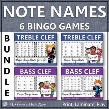 Note Names Bingo Games - Bundle (Treble Clef & Bass Clef)