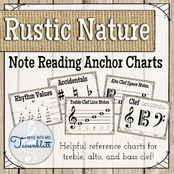 Note Reading Anchor Charts Posters: Rustic Nature Theme