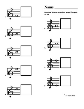 Note Reading - Music Assessment #1 Lines/Spaces