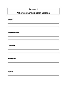 Note Sheet for North Carolina Geography