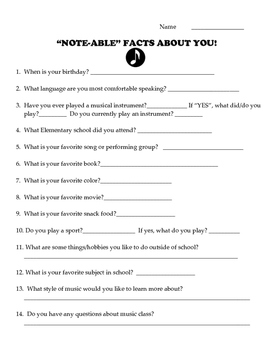 """""""Note-able"""" Facts About You (Perfect for Back-to School!)"""