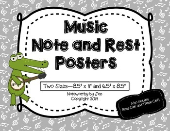 Music Note and Rest Posters {Grey and White, TWO sizes!}