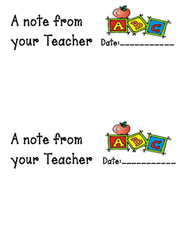 Note from your teacher