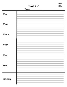 Note sheet, 5Ws and H, note taking, cornell notes template