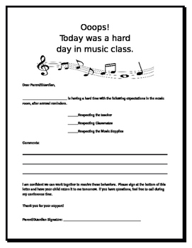 Note to Parent/Guardian from Music Class