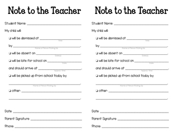 Note to the Teacher Template
