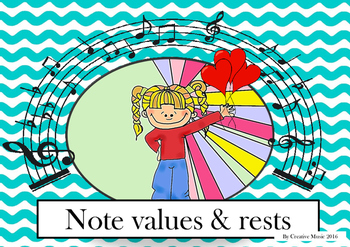 Note values and rests posters with blue frame