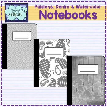 Notebook Covers - Clipart {Denim - Paisleys - Watercolor}