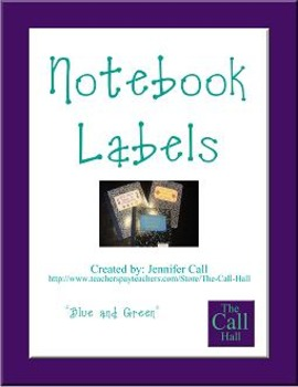 Notebook Labels - Blue with Green