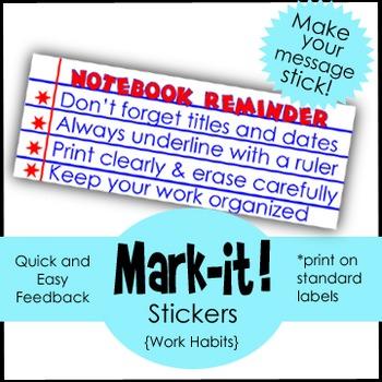 Classroom Management Sticker: Feedback for Organization: