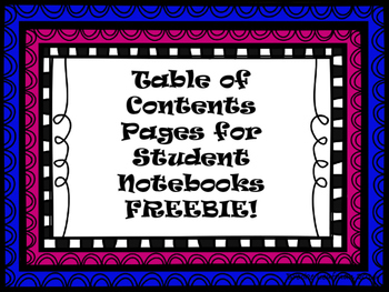 Notebook Table of Contents Freebie