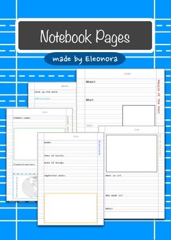 Notebook pages - assorted subjects  - both primary and reg