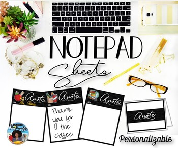 Notepad Sheets and Note Cards – School Theme