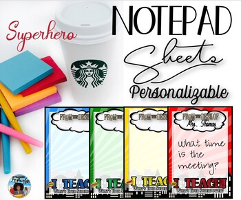 Notepad Sheets Set – Superhero Theme