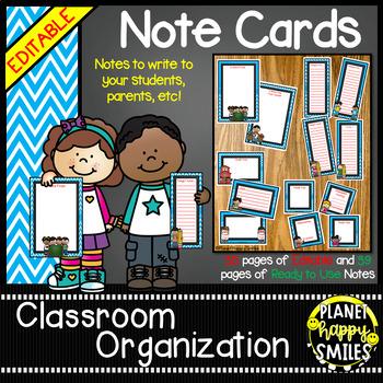 Notes/Notecards (EDITABLE) Aqua and Chalkboard Theme