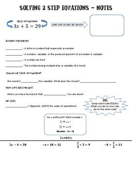Notes - Solving 2 Step Equations + VOCAB