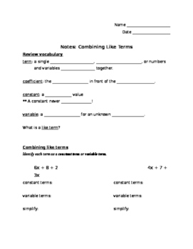 Notes and Guided Practice: Combining Like Terms (Answer ke