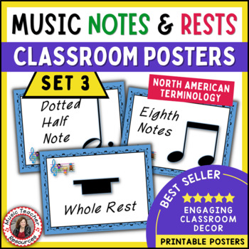 Music Classroom Decor Set: Notes and Rests Posters Set 3