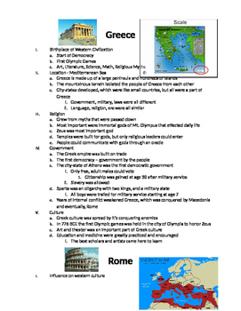 European History: Notes and Venn Diagram on Ancient Greece