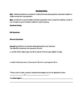 Notes for Common Core Algebra 2 Statistics-Hypothesis Testing