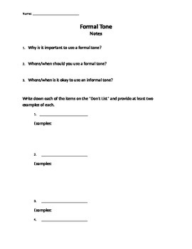 Notes for Formal Tone presentation