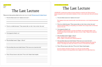 "Notes for Randy Pausch's ""Last Lecture"""