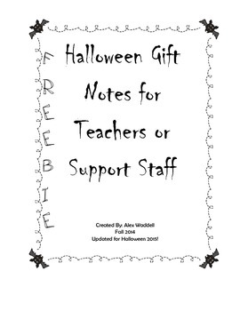 Halloween Gift Notes for Teachers or Staff FREEBIE