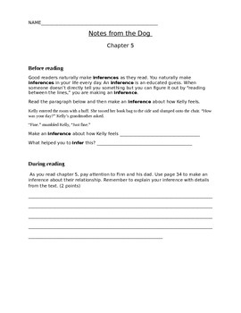 Notes from the Dog by Gary Paulsen, chapters 5-6, student