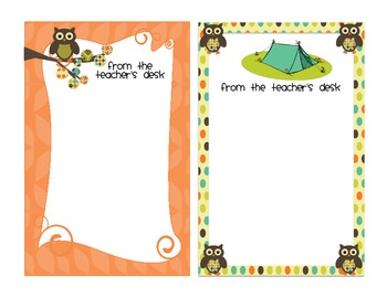 Notes from the Teacher's Desk: Camping Owls Theme