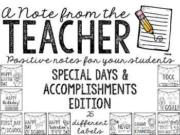 Notes from the Teacher (Target Label Inserts)