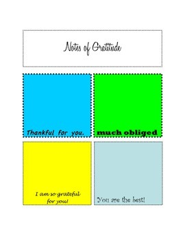 Notes of Gratitude- Great for Friendship Week