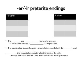 Notes on er and ir preterite (Avancemos 7.1)