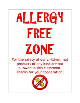 Notice: Allergy Free Zone