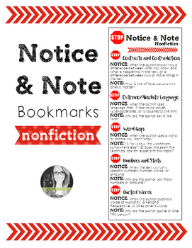 Notice and Note NONFICTION Bookmarks