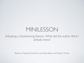 Notice and Note Reading Nonfiction:  What did the Author T