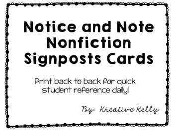 Notice and Note Signposts Cards (Nonfiction)