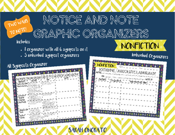 Notice and Note Signposts Graphic Organizers NONFICTION