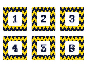 Notre Dame Irish Inspired Gold and Blue Chevron Calendar P
