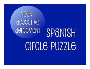 Spanish Noun Adjective Agreement Circle Puzzle
