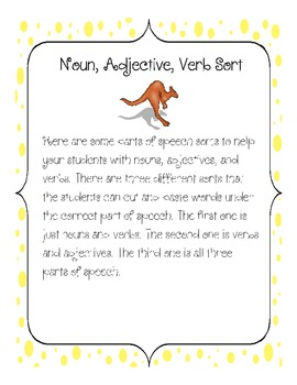 Noun, Adjective, Verb Sort Parts of Speech